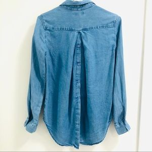 Denim-like Button Down with Back Button Detailing